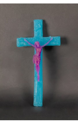 CRUCIFIX EN CIRE BLEU / ROSE