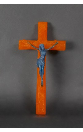 CRUCIFIX EN CIRE ORANGE / BLEU