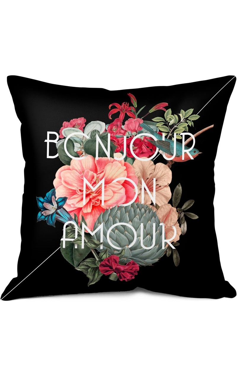 coussin bonjour mon amour fifi canari shop. Black Bedroom Furniture Sets. Home Design Ideas